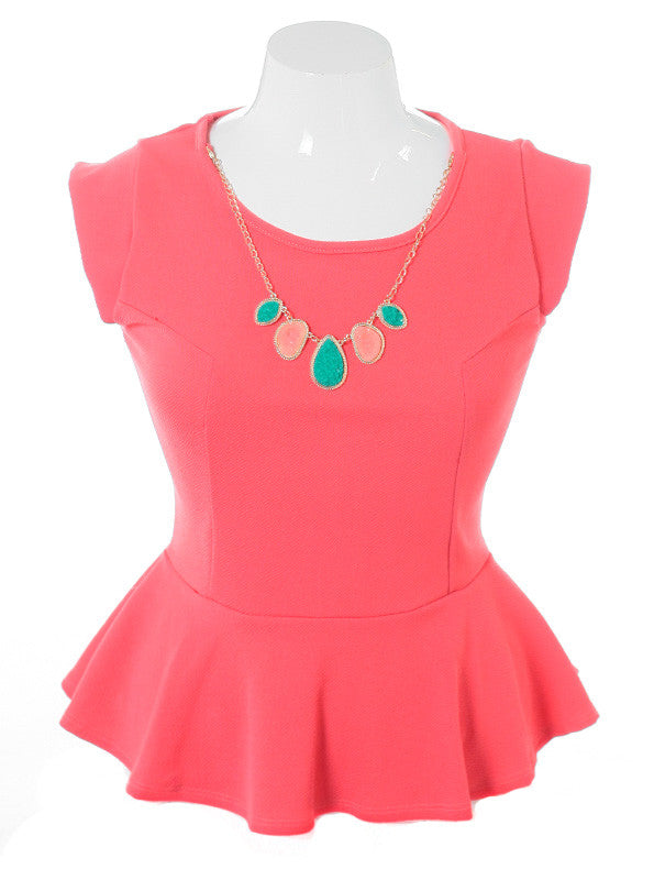 Plus Size Stone Necklace Flare Coral Top
