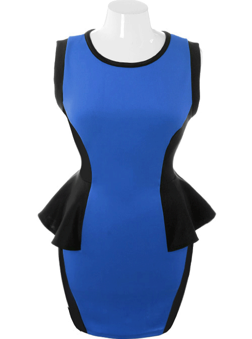 Plus Size Hot Bodycon Peplum Blue Dress