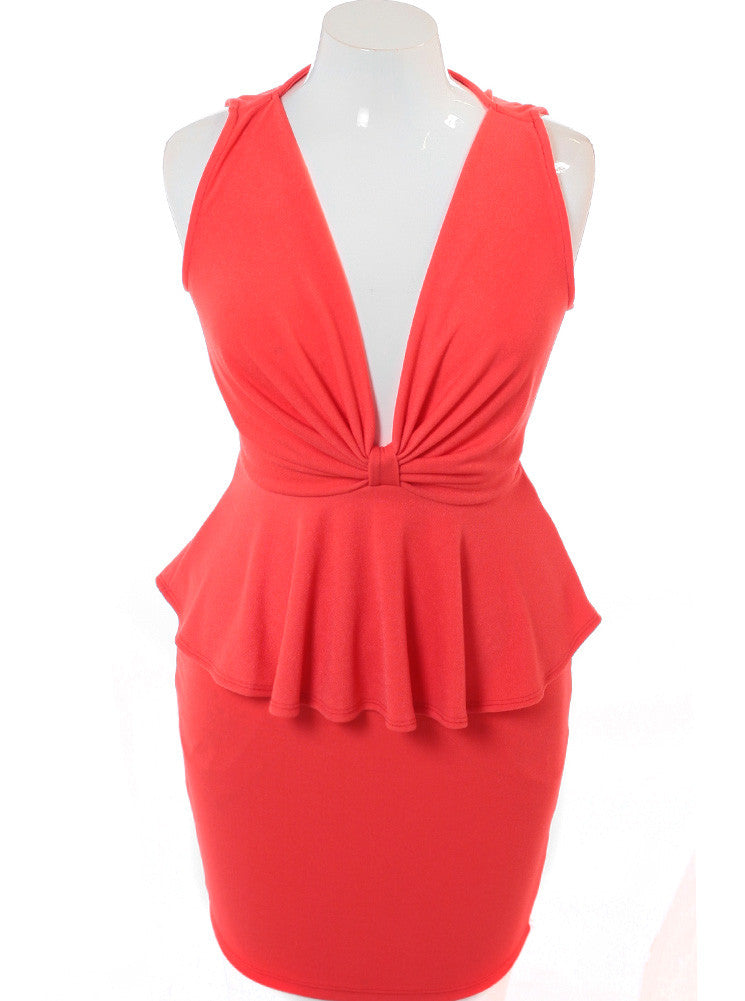 Plus Size Captivating Bow Coral Dress