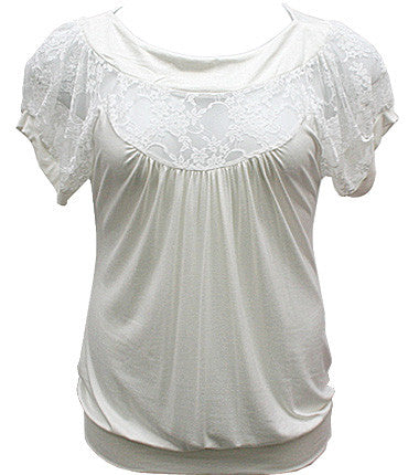 Plus Size See Through Lace White Blouse-1