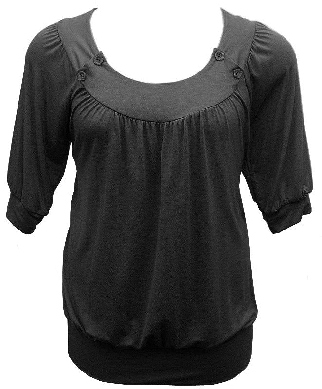 Half Sleeve Black Blouse