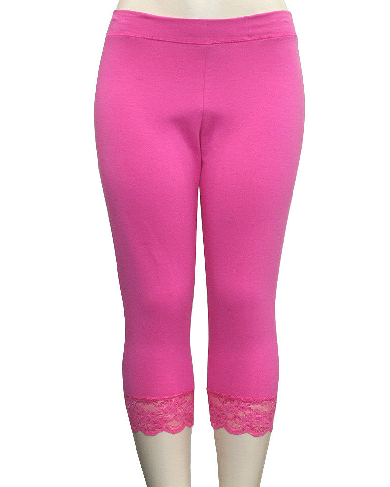 Cotton Lace Lining Pink Leggings