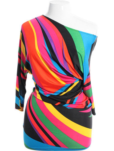 Plus Size Sexy Abstract Colorful Long Top Out