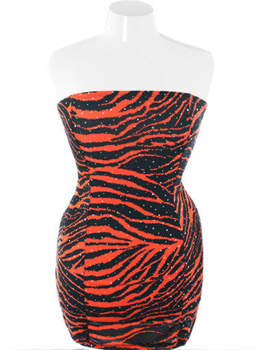 Plus Size Sexy Tiger Print Corset Back Mini Dress
