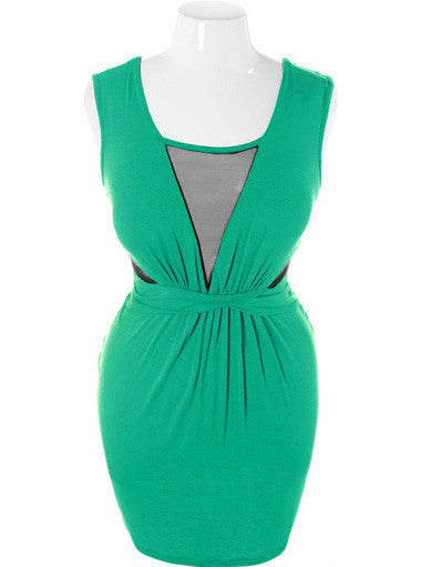 Plus Size Sexy V Neck Gathered Green Dress