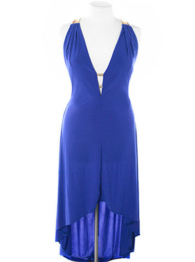 Plus Size Designer Open Back Blue Dip Hem Dress
