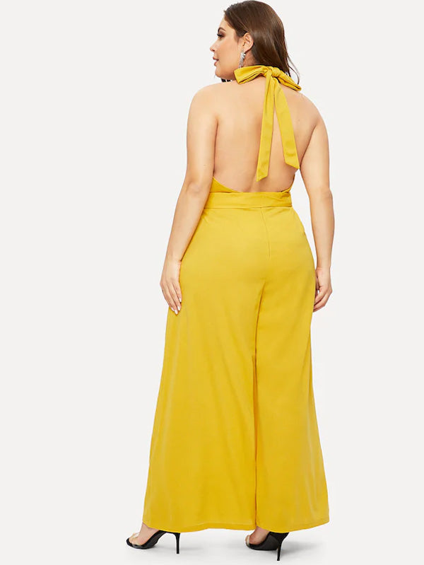 Plus Size Cross Wrap Open Back Wide Leg Halter Jumpsuit