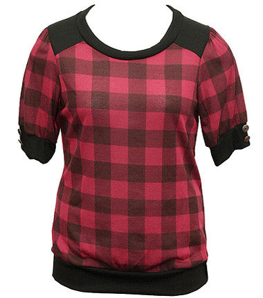 Soft Plaid Red Knit