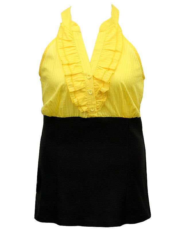 Elegant Sexy Ruffled Yellow Top