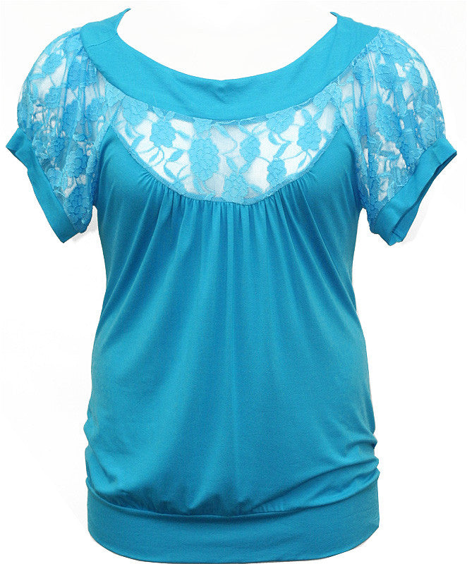 Plus Size See Through Lace Blue Blouse