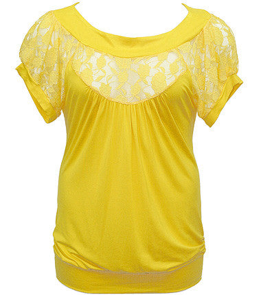 Plus Size See Through Lace Yellow Blouse