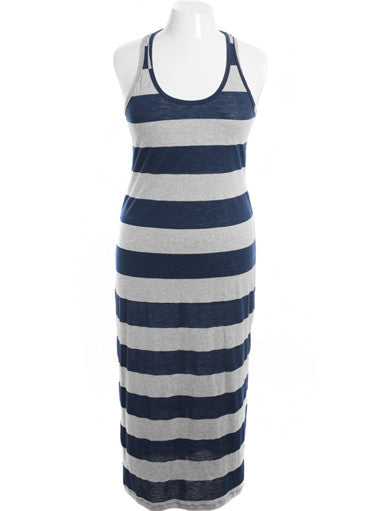 Plus Size Sexy Floor Length Simple Navy Stripe Dress