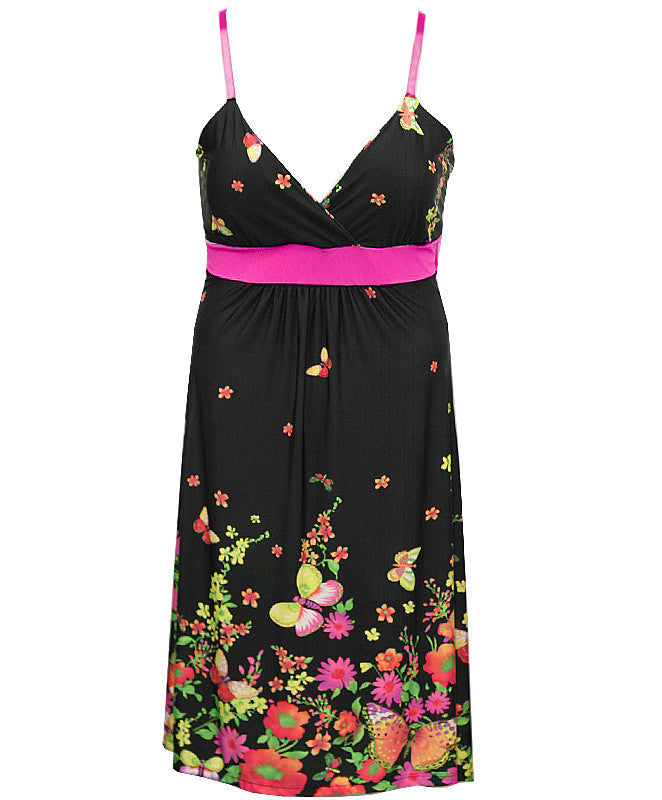Butterfly Floral Spring Pink Dress