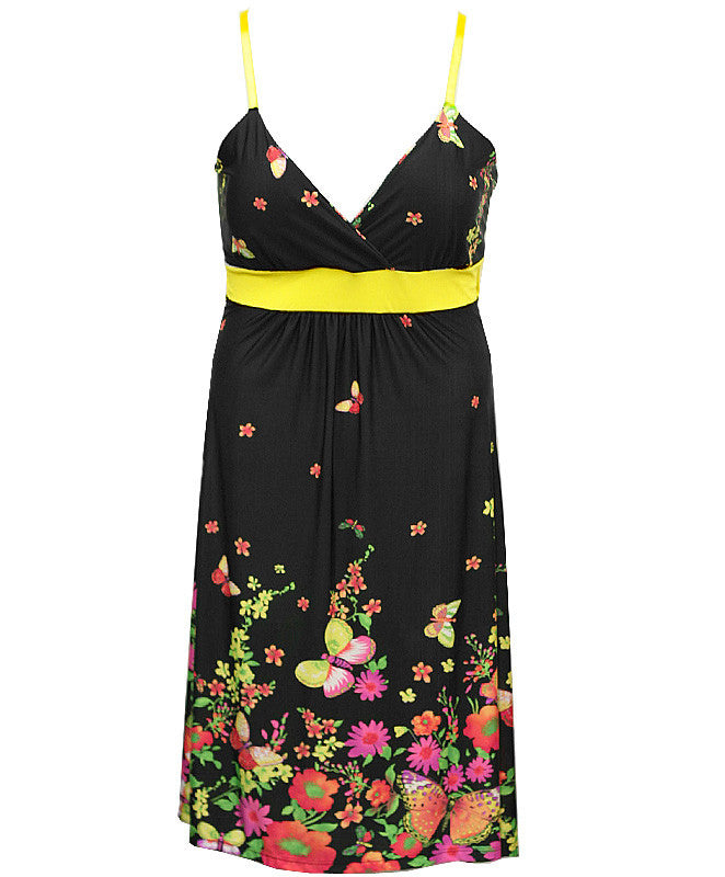 Plus Size Butterfly Floral Spring Yellow Dress