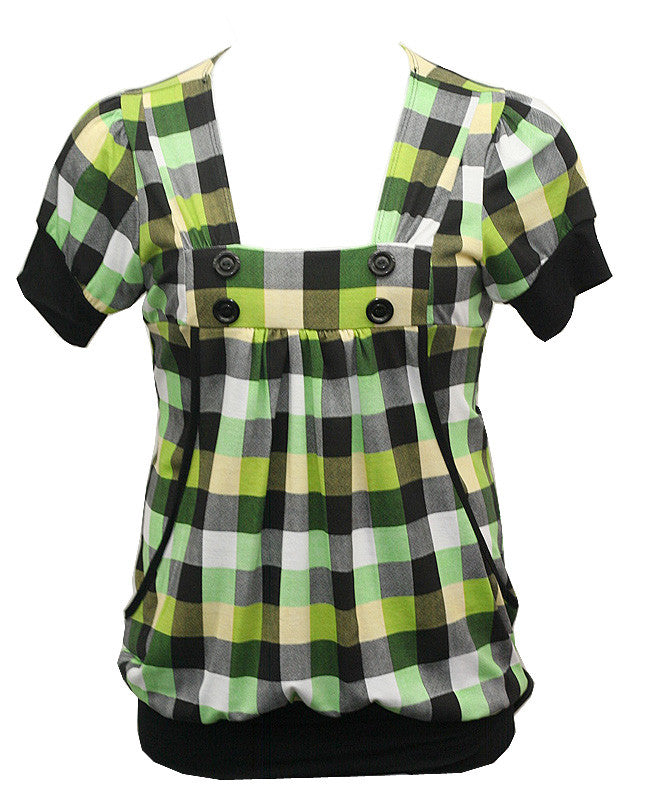 Checkers Layered Green Top
