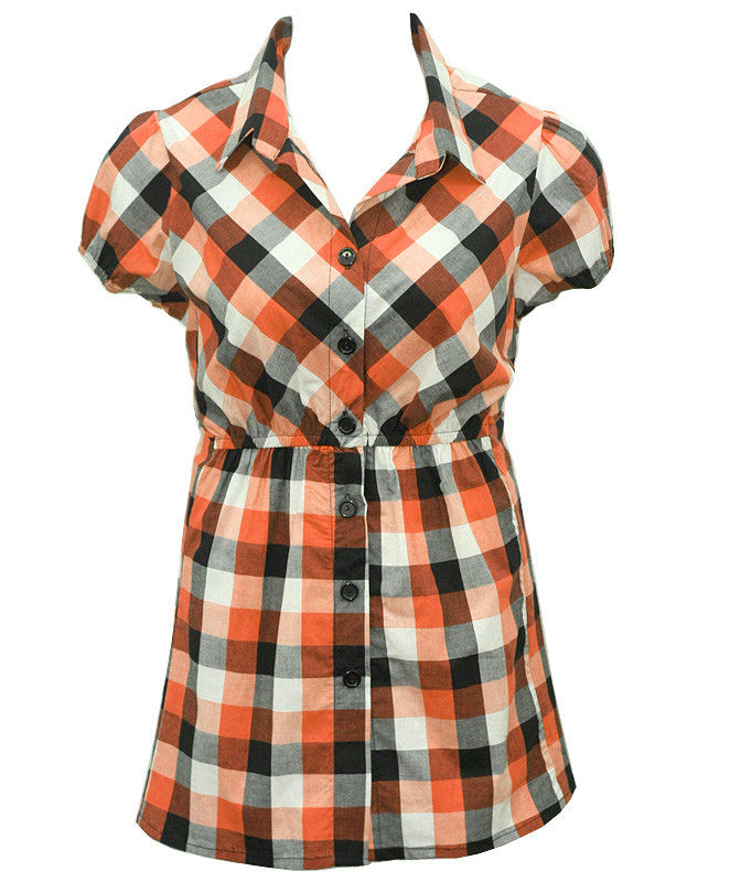 Long Checkered Orange Button Up