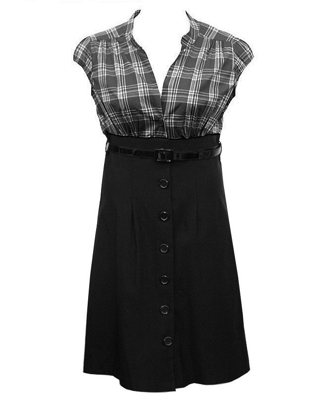 Plaid Button Up Black Dress