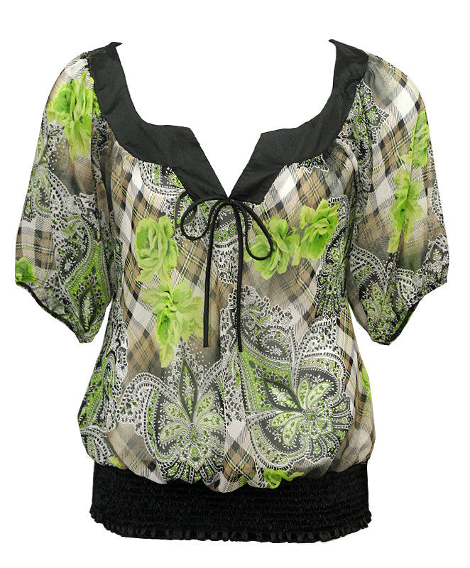 Sexy Floral Loose Green Blouse