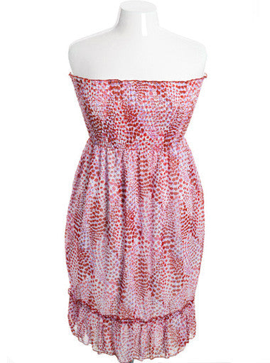 Plus Size Adorable Pink Floral Scrunch Tube Dress