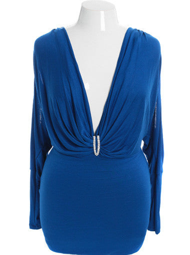 Plus Size Open Shoulder Designer Long Sleeve Blue Long Top