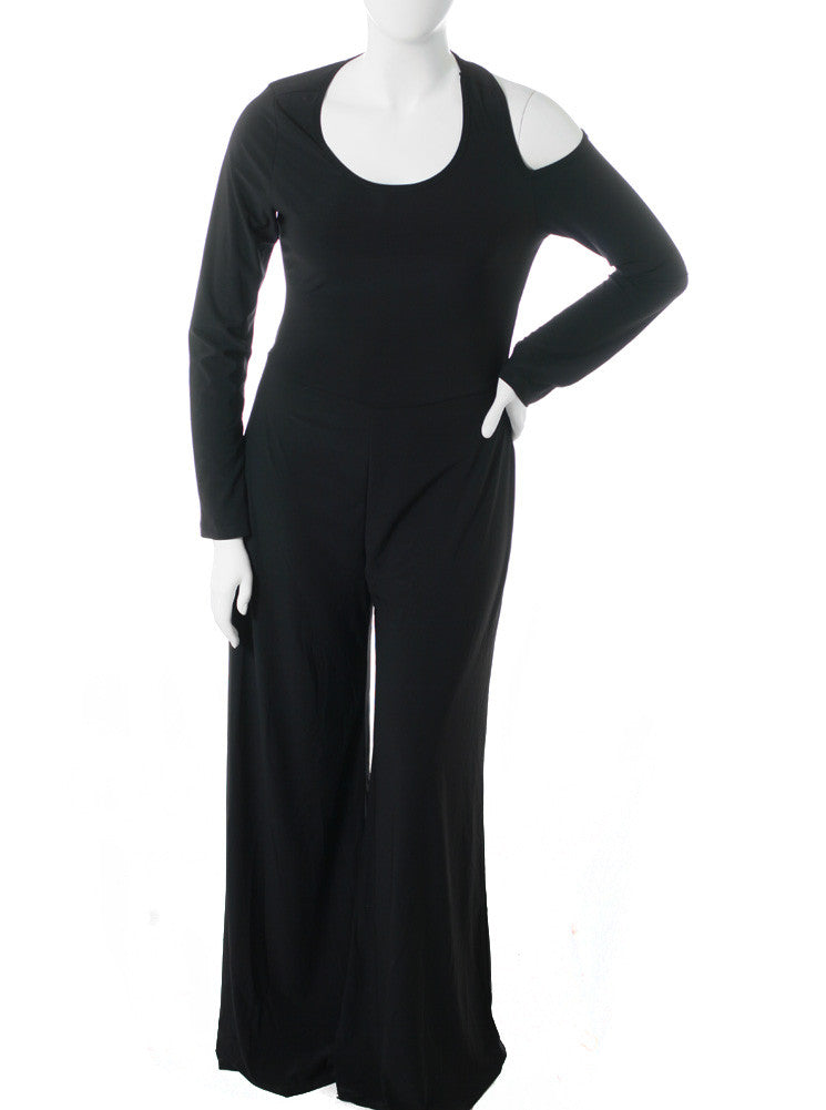 Plus Size Open Back Black Jumpsuit