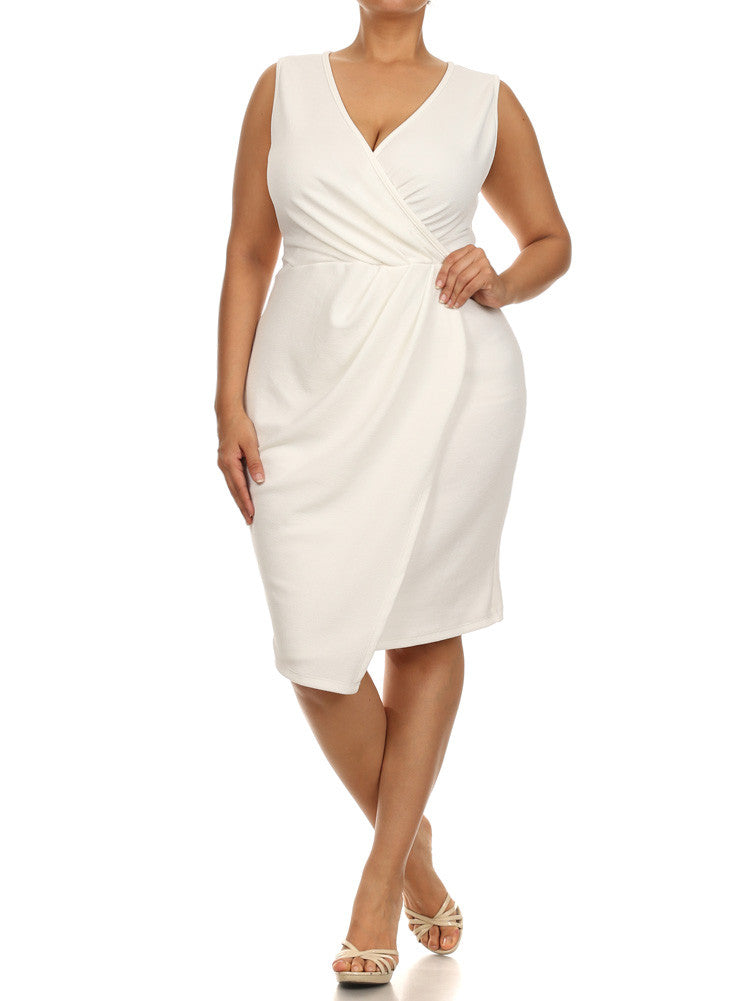 Plus Size Dashing Pleats Surplice White Dress