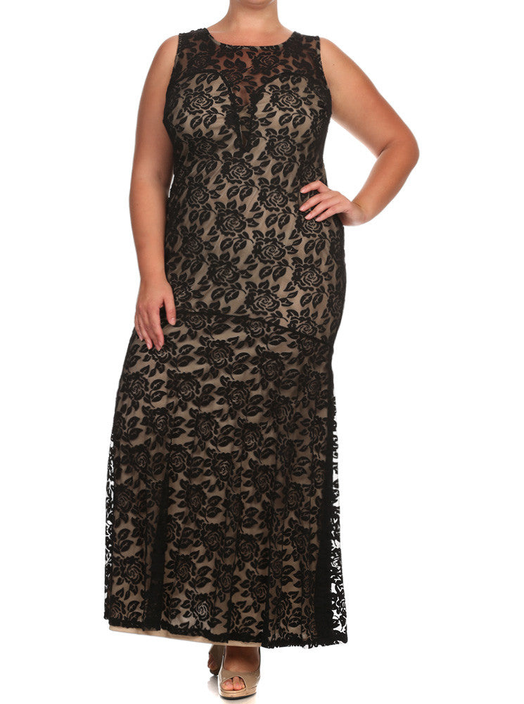 Plus Size Kissed By A Rose Fish Tail Black Maxi Dress