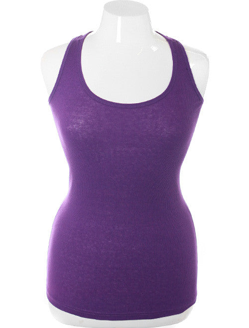Plus Size Sexy Lace Back Purple Tank Top