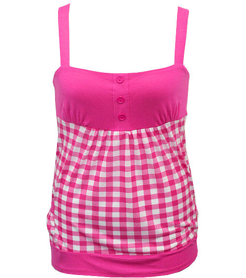 Trendy Plaid Pink Tank Top