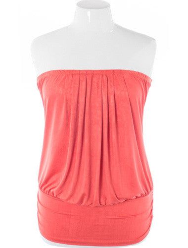 Plus Size Sexy Bubble Pleat Coral Top