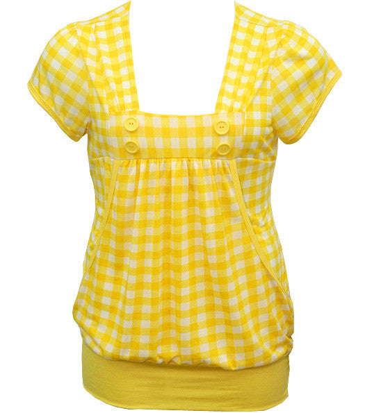 Layered Checkered Yellow Top