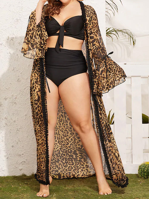 Plus Size Leopard Frill Trim Robe With Belt