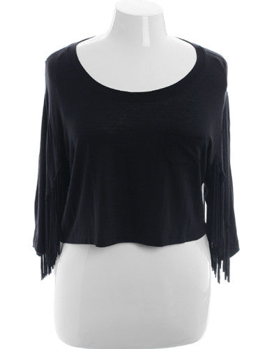 Plus Size Sexy Fringe Black Half Top