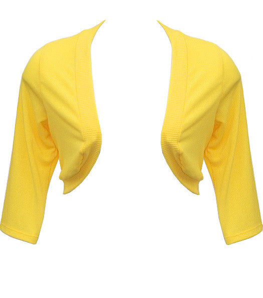 Plus Size Adorable Knit Shrug Yellow Top