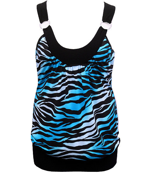 Plus Size Diamond Zebra Sexy Tank Blue Top