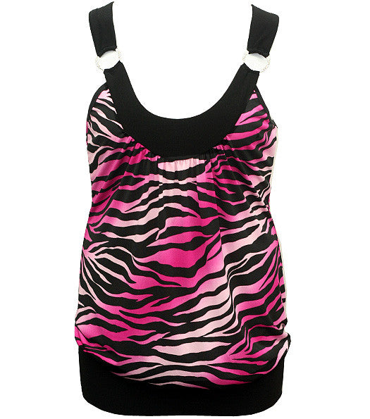 Plus Size Diamond Zebra Sexy Tank Pink Top