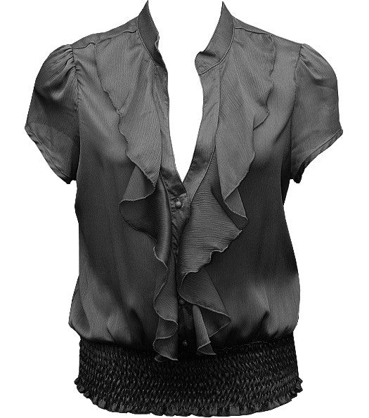 European Ruffled Black Blouse
