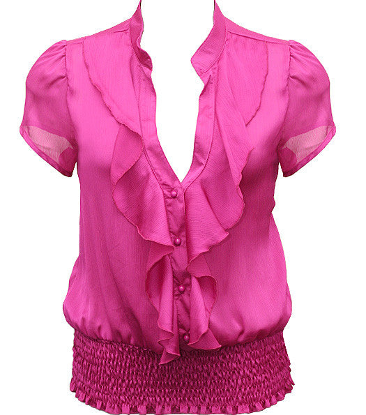 Plus Size European Ruffled Pink Blouse