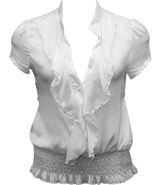European Ruffled White Blouse