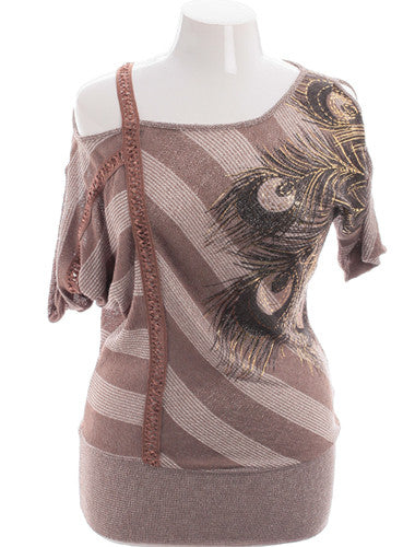 Plus Size Sexy Open Shoulder Striped Graphic Tan Blouse