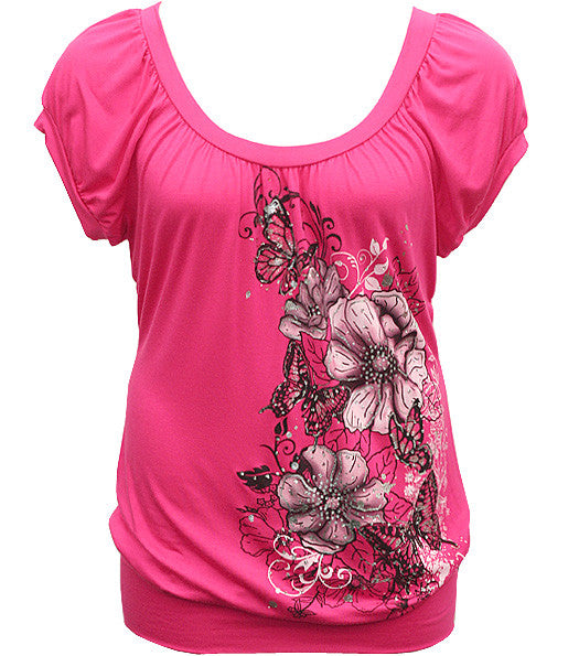 Sparkling Trendy Flower Pink Top
