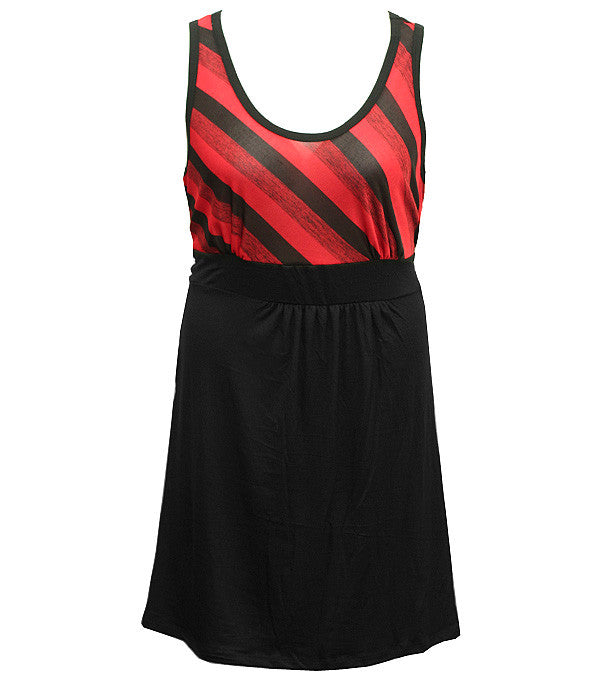 Plus Size Sexy Simple Stripe Red Dress