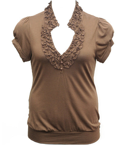 Adorable Ruffled Sexy Brown Top