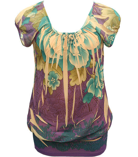 Layered Flower Bubble Purple Blouse