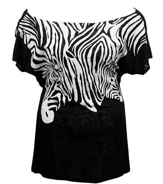 Drop Shoulder Zebra Black Top