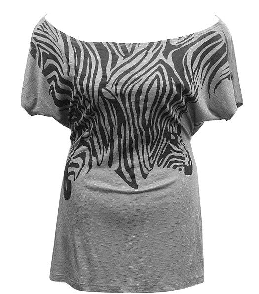 Drop Shoulder Zebra Grey Top