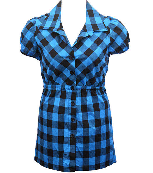 Long Checkered Blue Button Up
