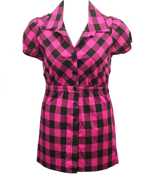 Plus Size Long Checkered Pink Button Up