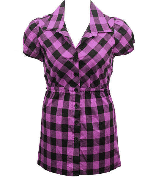 Long Checkered Purple Button Up