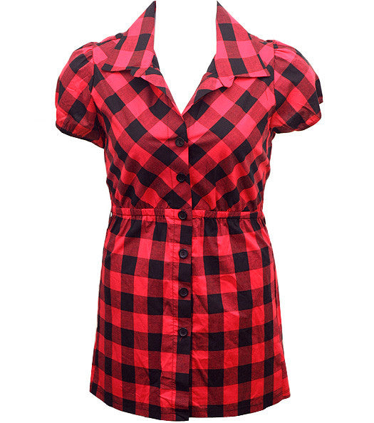 Long Checkered Red Button Up